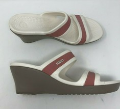 Crocs Wedges Sandals Shoes Womens 10 White Pink Mules Slides - $19.28