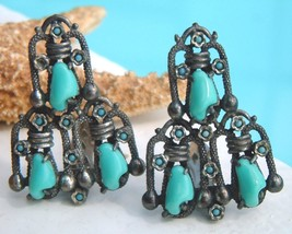 Vintage Pair Dress Clips Turquoise Art Deco Snake 1940s - $59.95