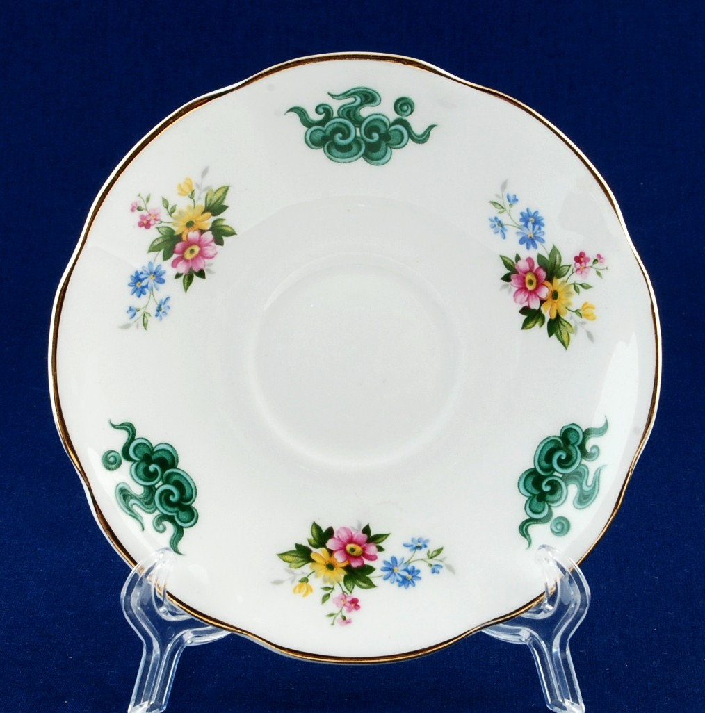 Rosina China Saucer Floral w Oriental Style Clouds Never Used - $5.00