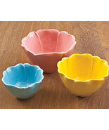Set of 3 Flower Petal Bowls Ceramic - $14.95