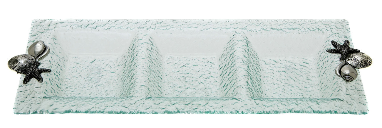 Shells Glass 3 Section Tray