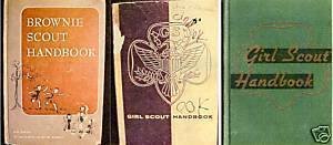 1)BROWNIE SCOUT©1951;(2)GIRL SCOUT HANDBOOKS©1947&
