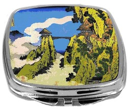 Rikki Knight Katsushika Hokusai Art Temple Bridge Compact Mirror Art Design NEW - $12.00