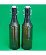 Pair Of Brown Hirschbrau Sonthofen .5 Liter Snap-Top Beer Bottles (No La... - $1.95
