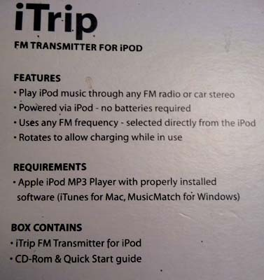 GRIFFIN ITRIP FM TRANSMITTER with Install CD Rom