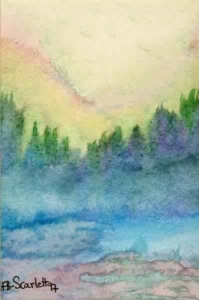 HEAVEN HILL Wild Cattle Creek, Big Sur Watercolor 1997