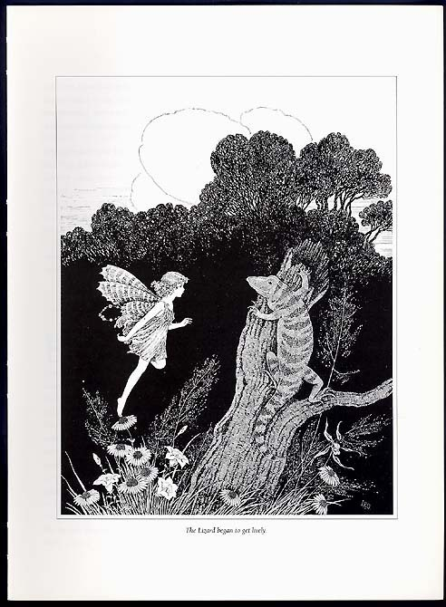 LIVELY LIZARD in Fairyland Book Lithograph Art Print by Ida