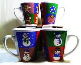 MULBERRY HOME COLLECTIONS CHRISTMAS LATTE MUGS/CUPS 4PC - $14.99