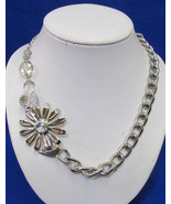Macys Necklace Silver Tone Metal Chain w/ Off Center Flower Pendant Flor... - $12.86