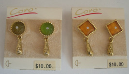 Eighties Coro  cushion  cab earrings in green and gold for pierced ears - $15.00