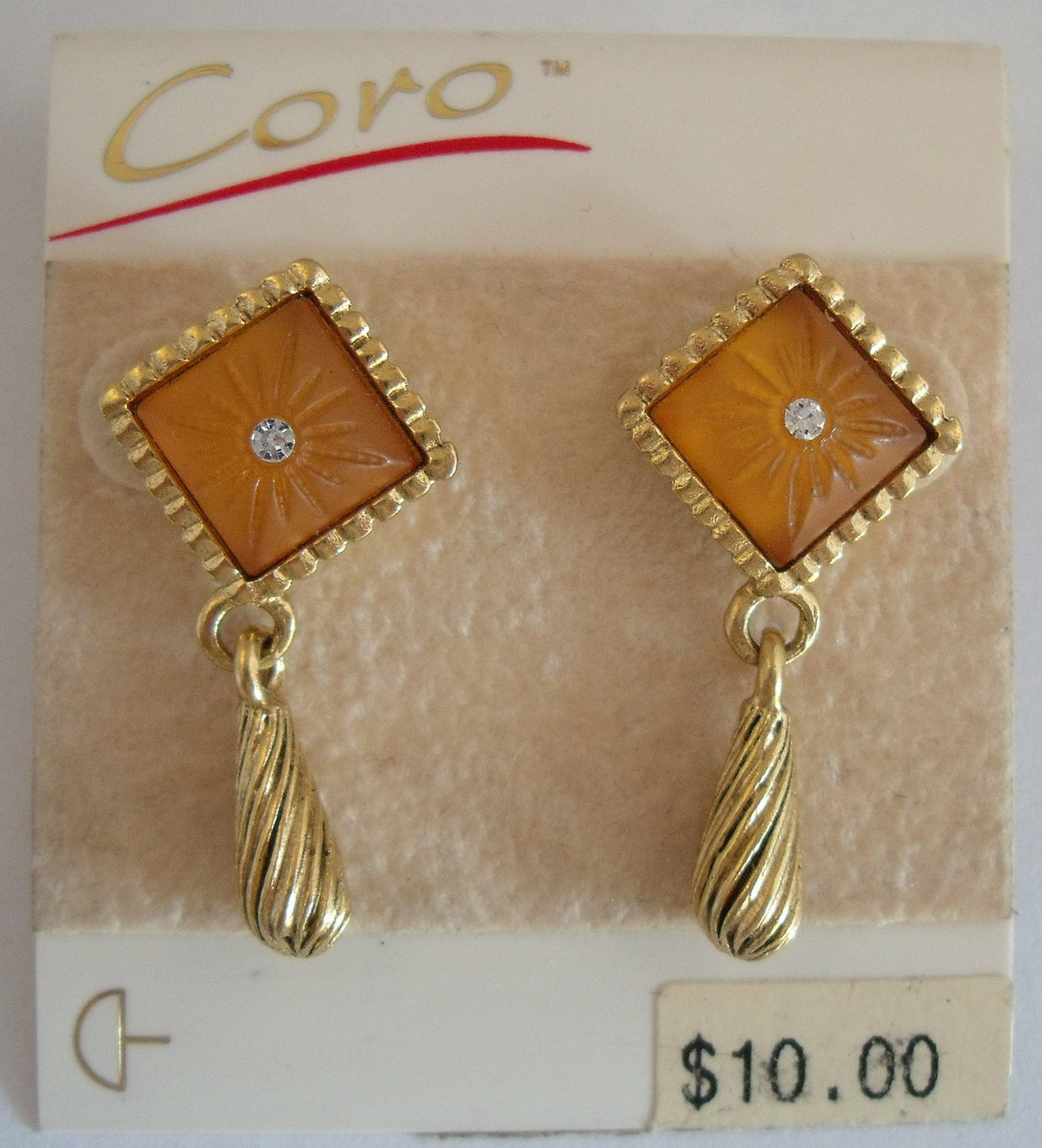Eighties Coro  cushion  cab earrings in green and gold for pierced ears