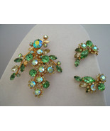 Beau Jewels brooch and earring set in shades of green - $40.00