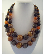 Novelty two strand brown and orange fifties bubble necklace. - $10.00