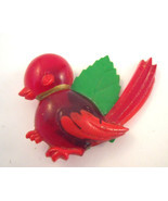 Bright red early plastic bird pin - $9.00