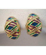 Butler rhinestone clip on earrings with green, purple and bl - $12.00