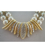 Eighties glamour necklace with double strand pearls and rhin - $29.99