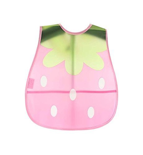 Set Of 2 Waterproof Comfortable Baby Bib/Pinafore For Baby, Pink Strawberry