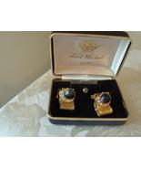 Vintage Cuff Links & Tie Tac Set ~ Rhinestones ~ Gray Plasti - $14.00