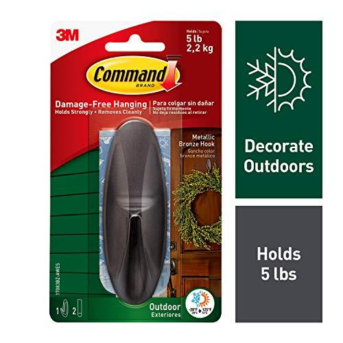 Command Outdoor Hook, Decorate Damage-Free, Water-Resistant Adhesive, Large 1708