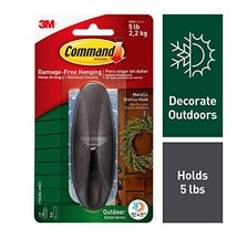 Command Outdoor Hook, Decorate Damage-Free, Water-Resistant Adhesive, Large 1708 image 1