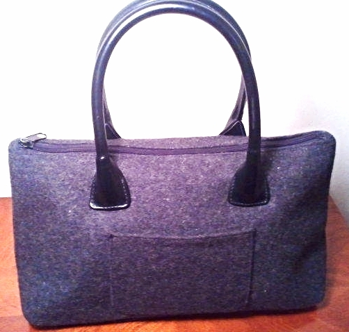 Primary image for Ohh! Ashley Gray Wool and Leather Handbag