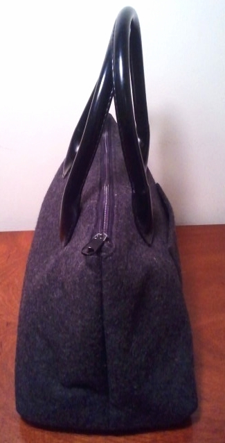Ohh! Ashley Gray Wool and Leather Handbag