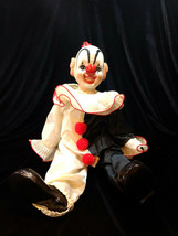 Vintage Porcelain Dynasty Doll Collection Clown Figurine Sitting Black &... - $32.00