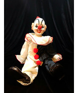 Vintage Porcelain Dynasty Doll Collection Clown Figurine Sitting Black &... - $32.00