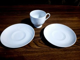 3 Piece Lot MIKASA Japan Ambiance White Calla Lilies - 1 Footed Cup & 2 Saucers - $9.89