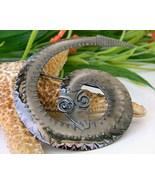 Vintage Coiled Snake Brooch Pin Rattlesnake Bronze Geometric - $19.95