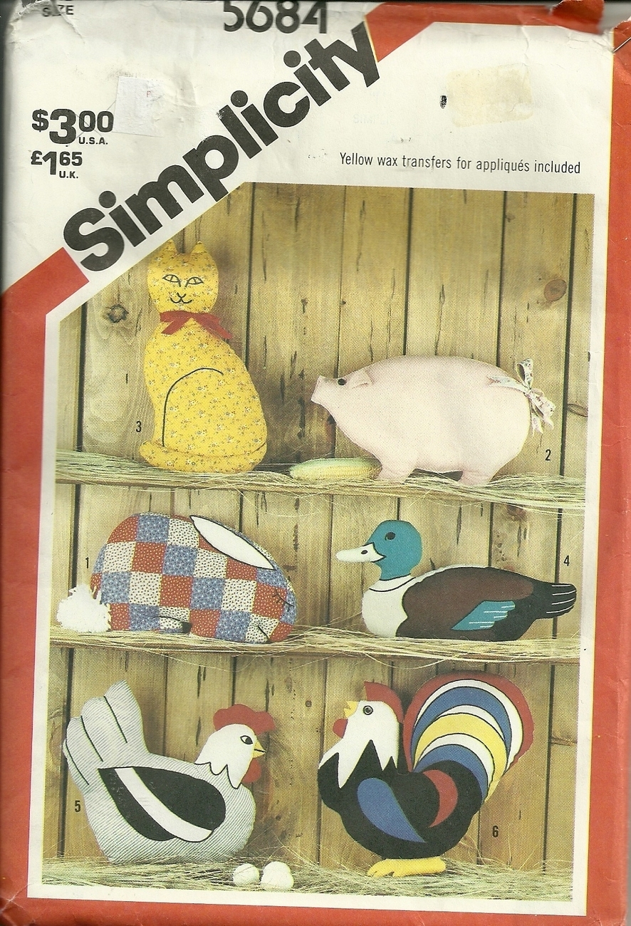 Primary image for SIMPLICITY #5684 CRAFT PATTERN / 1982 FARM ANIMALS