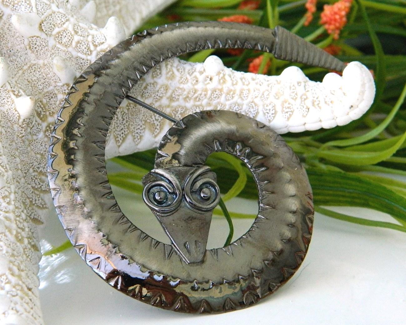 Vintage Coiled Snake Brooch Pin Rattlesnake Bronze Geometric