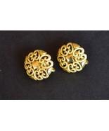 Vintage ornate Avon goldtone fashion clip on earrings unique costume jew... - $10.58