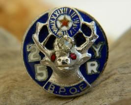 Vintage elk bpoe 25 year enamel lapel pin membership fraternal thumb200