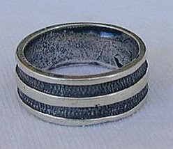Silver strips ring - $15.00