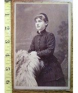 Cabinet Card Pretty Young Lady Fur Chair! c.1866-80 - $5.00