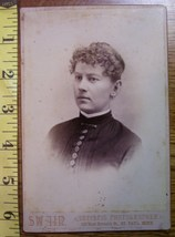 Cabinet Card Pretty Lady Vignette Style Buttons! c.1866-80 - $3.60