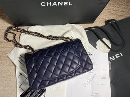 AUTH BNW CHANEL 2019 NAVY CAVIAR QUILTED SMALL DOUBLE FLAP BAG GHW RECEIPT image 3