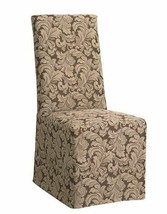 Sure Fit Scroll Long Dining Room Chair Slipcover -Brown T410912 - $18.76