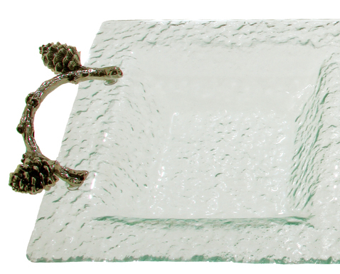 Pine Cone Branch Glass 3 Section Tray