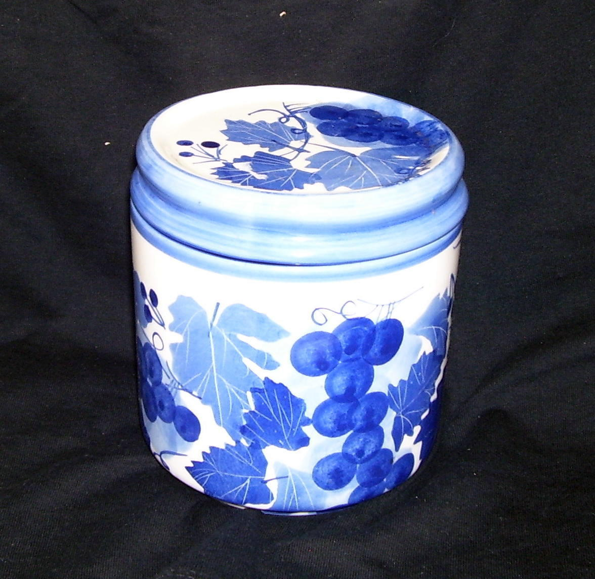Blue and White Ceramic Storage Canister with Lid