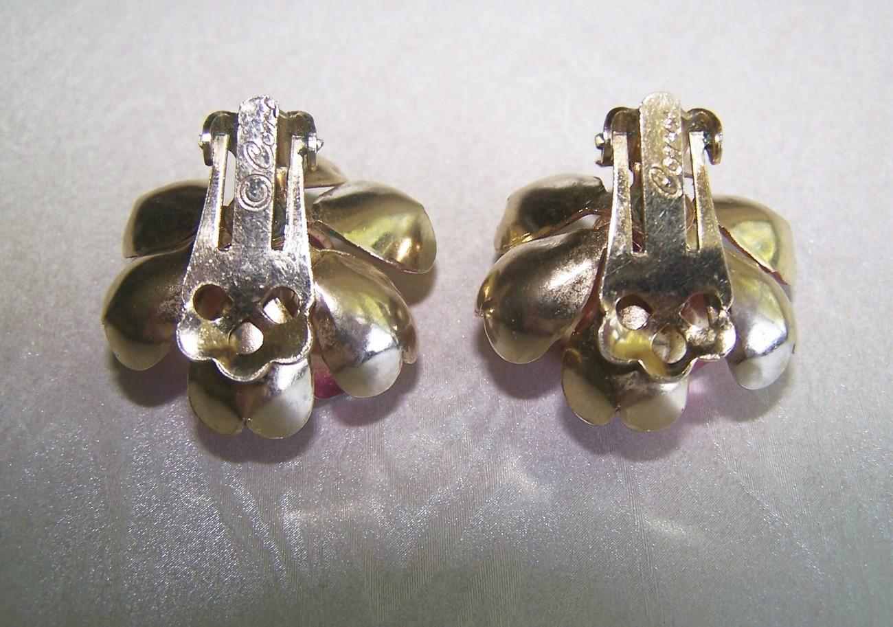 Vintage CORO Rhinestone & Enamel Flower Clip Earrings