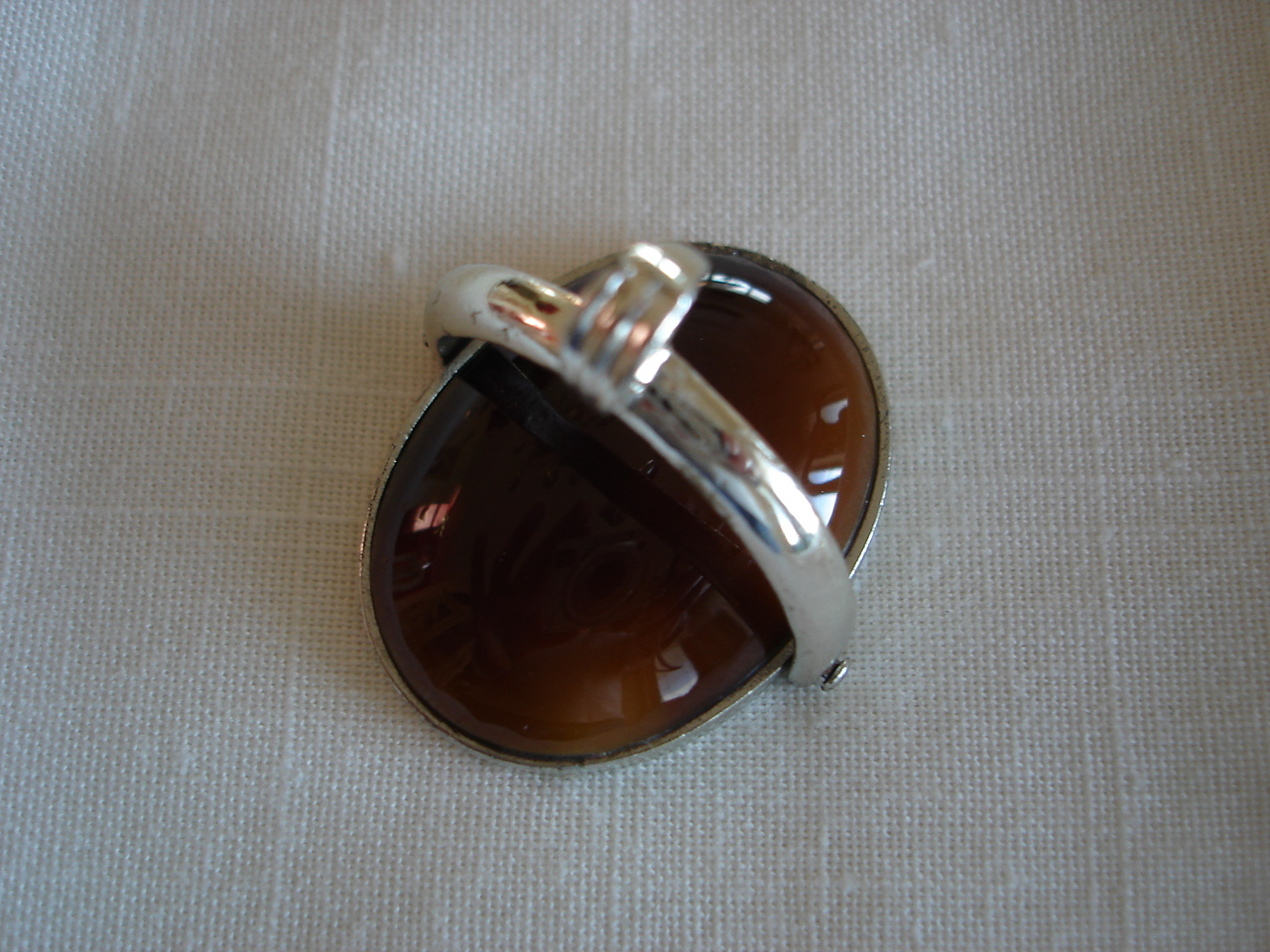 Vintage Silvertone Frame, Topaz Glass Stone Pendant, Mirror Back, Swivels