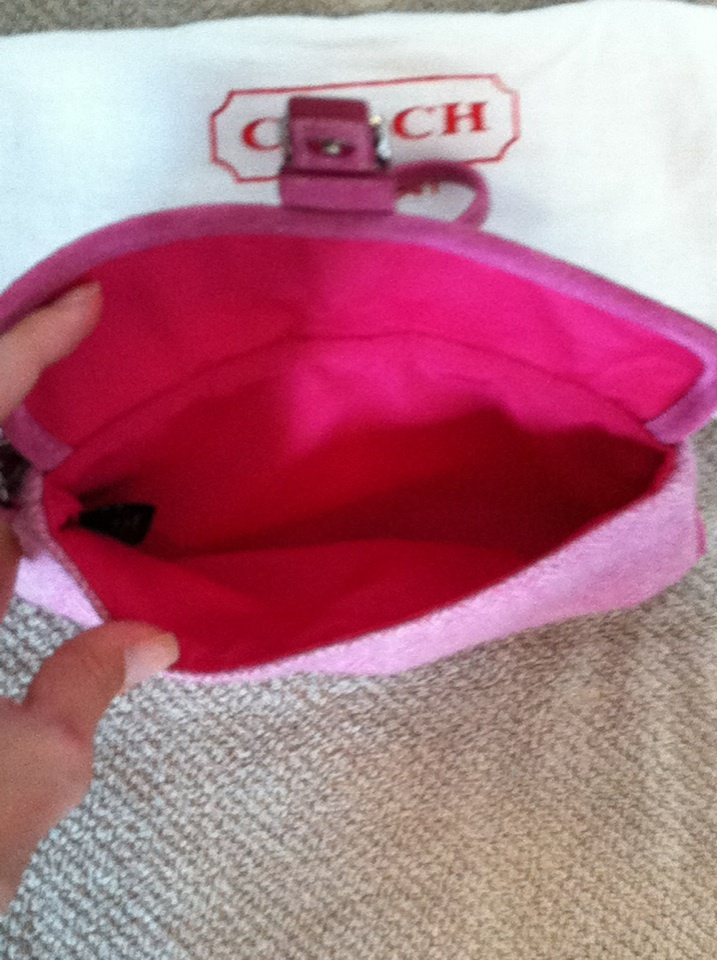 Coach Pink Tweed Wristlet