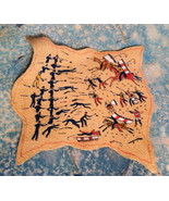 Leather Pictograph of Custer Battle With Sioux - $45.00