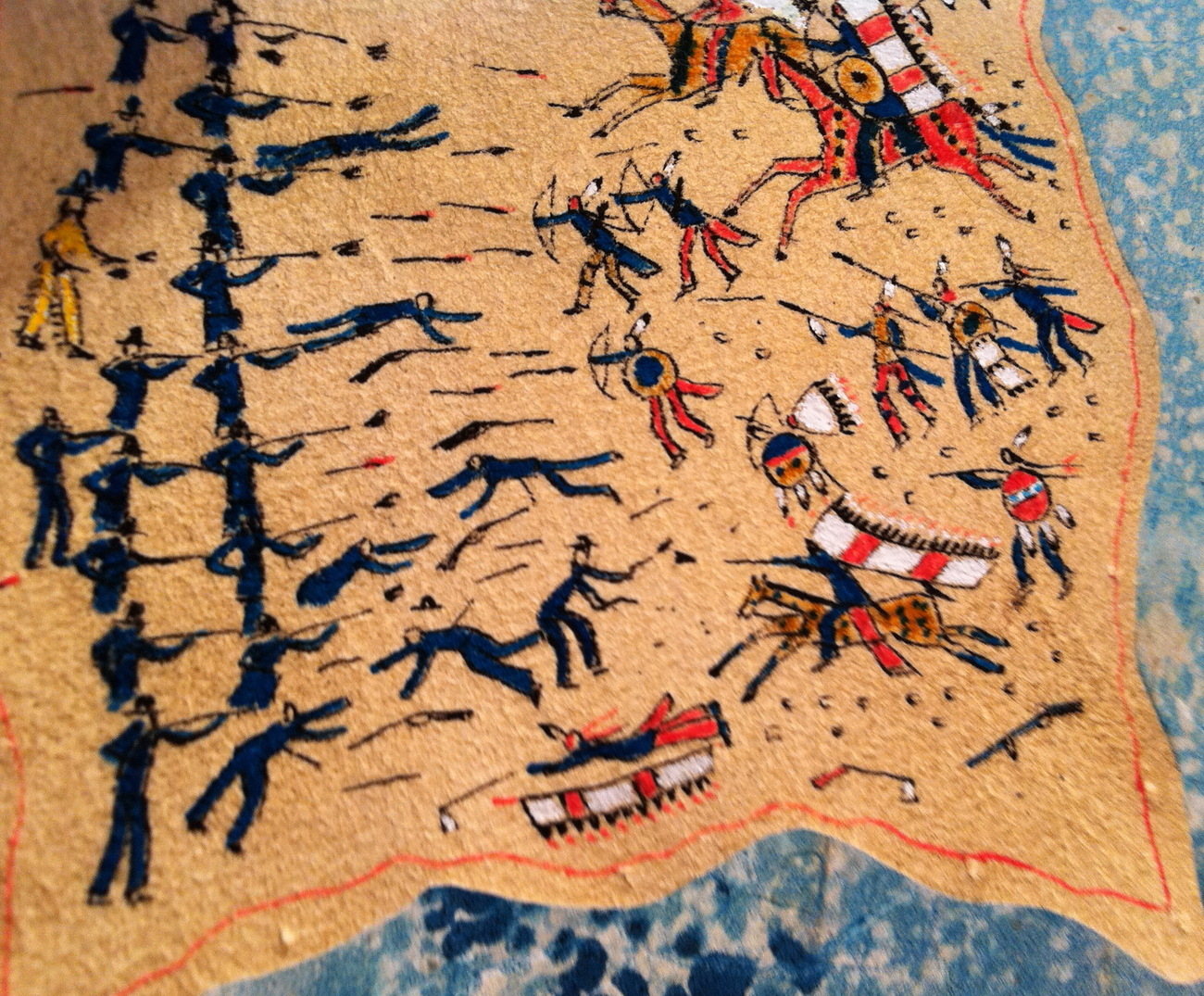 Leather Pictograph of Custer Battle With Sioux