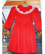 vintage girls red Long Sleeve dress size 7 white lace bib collar mod gogo - $49.49