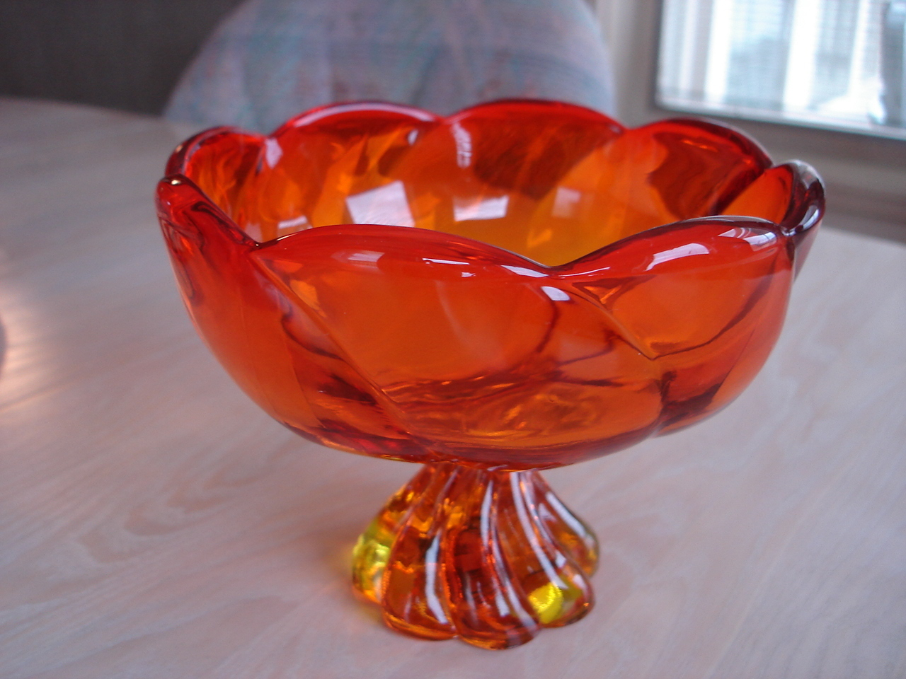 Vintage Amberina Scalloped Glass Candy Dish, Swirl Glass Design Pedestal