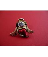 Red Heart Rhinestone Angel Halo Wings Souvenir Lapel Hat Pin - $4.99