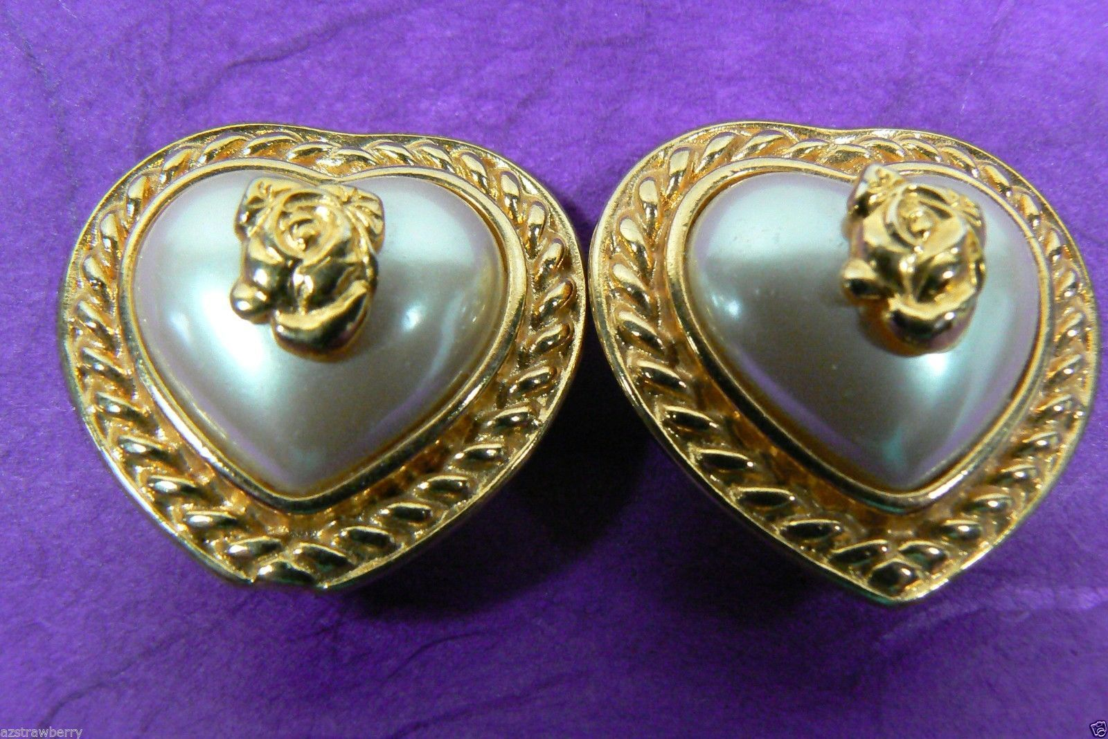 LIZ CLAIBORNE LARGE ELEGANT GOLD TONE WHITE PEARL FAUX CLIP HEART ROSE EARRINGS